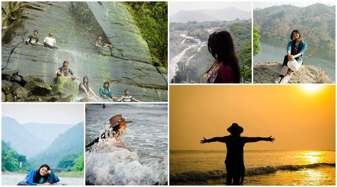 A grid style collage of six images. In the top left image, Maitraye and her six friends are sitting on the rocks beneath a waterfall. All of them are soaked in water and posing like they are doing meditation. The top middle photo captures Maitraye looking at a giant waterfall. In the top right photo Maitraye is sitting on a rock in front of a lake. In the bottom left photo, a smiling Maitraye is sitting on a rock on a water stream. The bottom middle photo captures Maitraye playing with waves smilingly. In the bottom right photo, Maitraye's silhouette is standing on a beach during sunset with her hands stretched outwards.